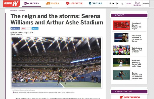 Serena Williams and Arthur Ashe Stadium on ESPNw.